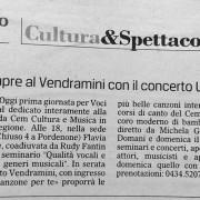 Articolo da Il Gazzettino su Voci in festival, Pordenone 21-22-23 marzo 2014